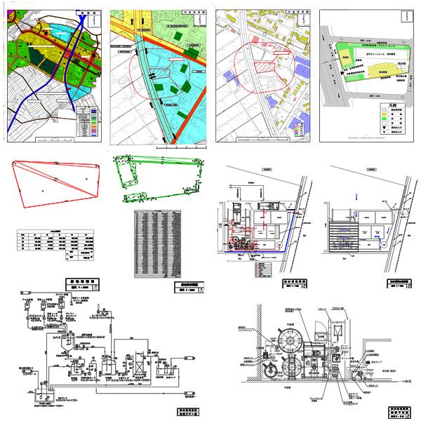 産業廃棄物処理施設設置 建築基準法第51条ただし書 許可申請図面1(配置図・保管施設設計計算書・設備図・平面図・立面図・断面図・構造図・公図・付近見取図)