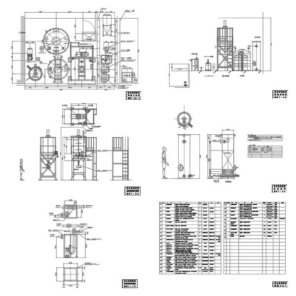 産業廃棄物処理施設設置 建築基準法第51条ただし書 許可申請図面3(配置図・保管施設設計計算書・設備図・平面図・立面図・断面図・構造図・公図・付近見取図)